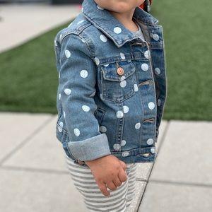 Carters denim jacket polka dot light blue